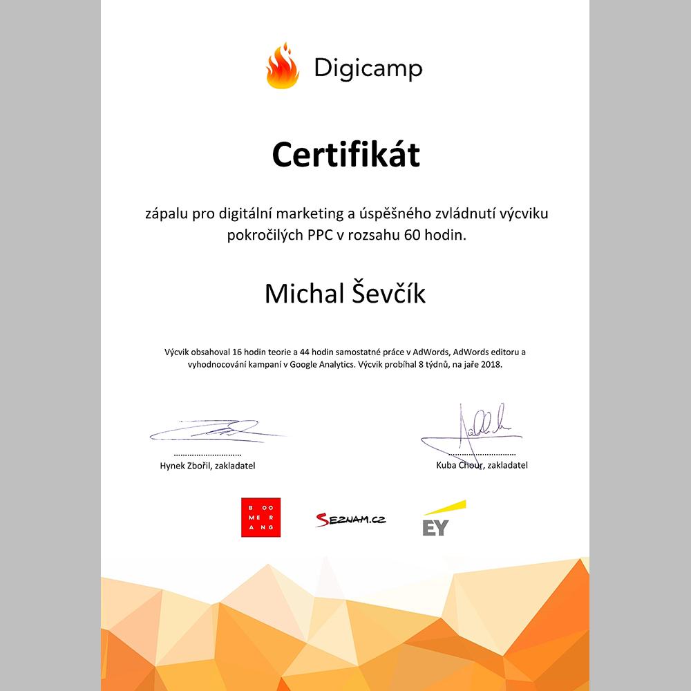 Digicamp Advanced certifikát Žijeme online Michal Ševčík