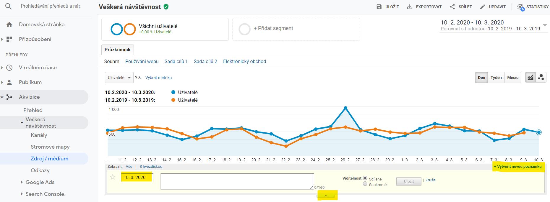 Tvorba poznámek vGoogle Analytics - návod | Žijeme online